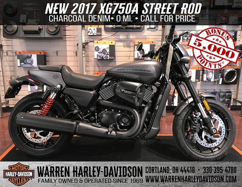 A black and orange 2017 XG750A Street Rod is parked in the showroom.