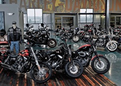 The showroom floor with motorcycles lined up in the middle.