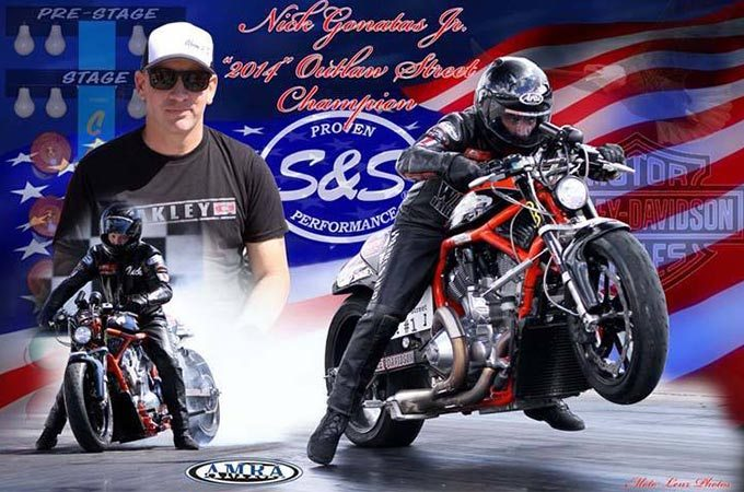 An image montage with the American flag, a rider smiling, and a rider on a red motorcycle racing..